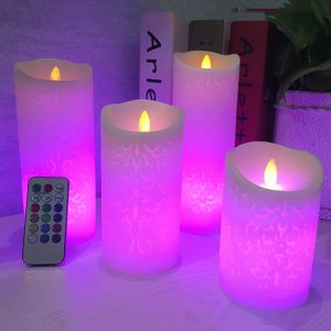 Remote Control Patterned LED Candle Night Lights