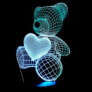 Bear and Heart 3D Home Lamp