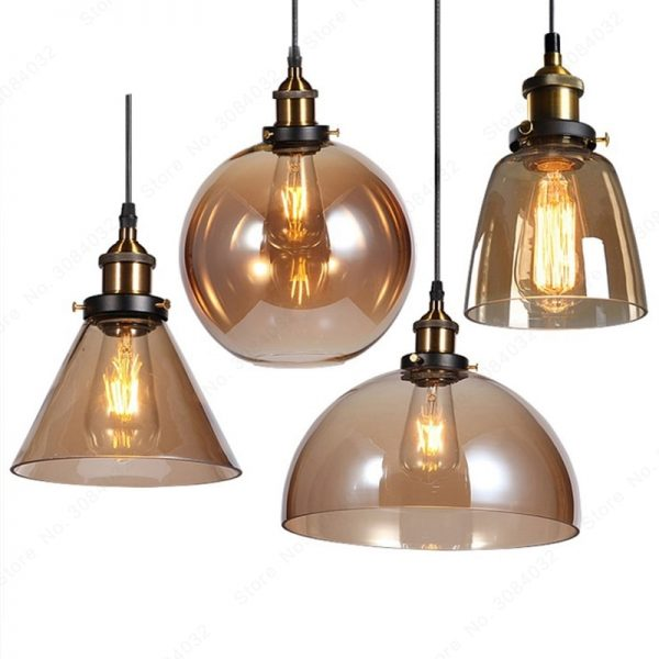 3737 cqivld - Loft Style Amber Glass LED Pendant Lighting | RadiantHomeLighting