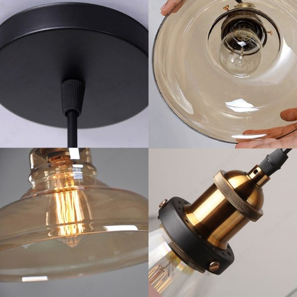 3737 hbzgvv - Loft Style Amber Glass LED Pendant Lighting | RadiantHomeLighting