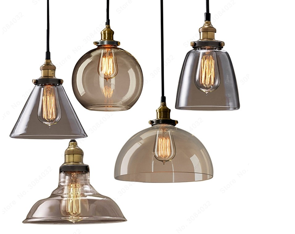 Loft Style Amber Glass LED Pendant Lighting