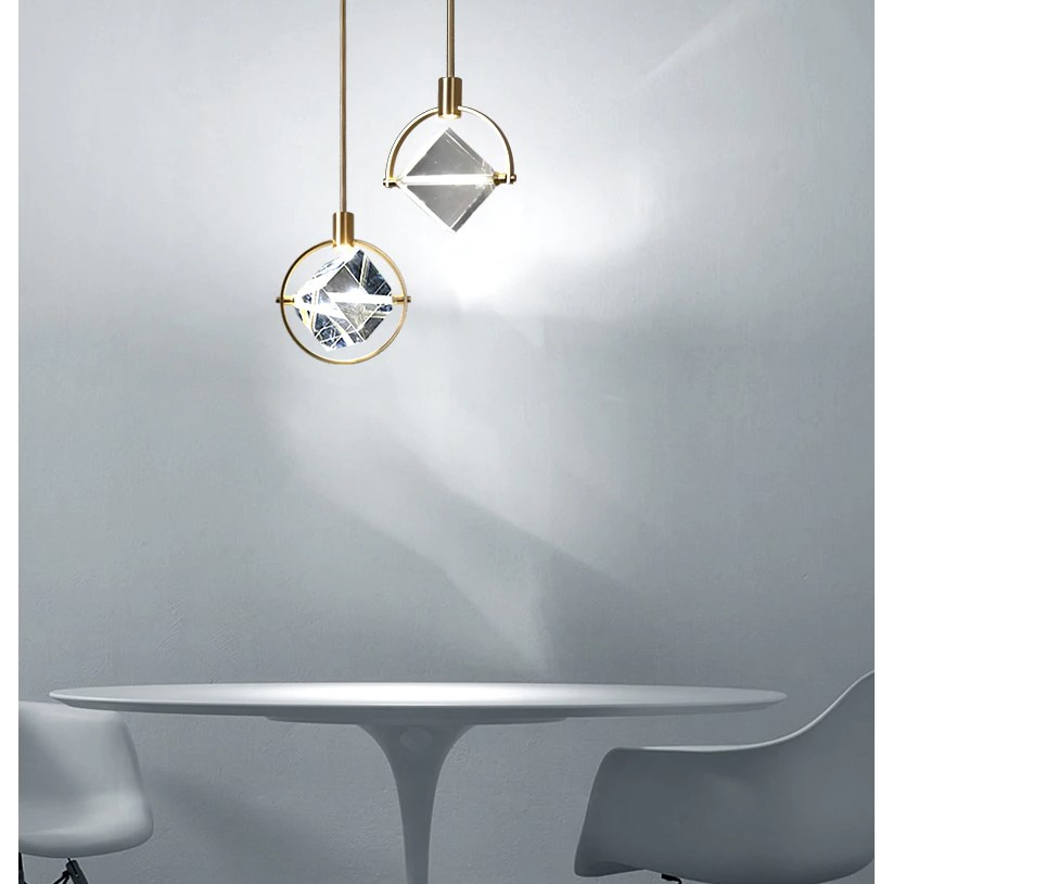 Crystal Cube LED Pendant Lighting