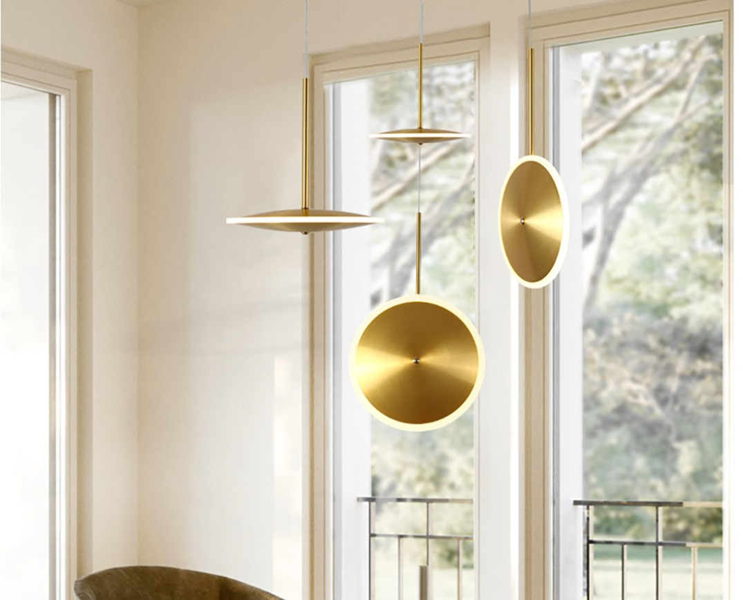 Golden Disc LED Pendant Lighting
